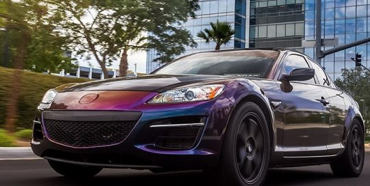 Mazda RX8 wrapped in ColorFlip Gloss Deep Space Blue/Bronze/Purple shade shifting vinyl
