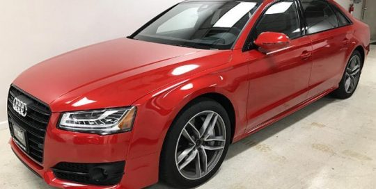 Audi A-8 wrapped in Gloss Dragon Fire Red vinyl
