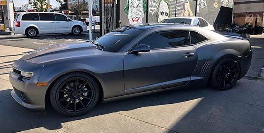 Camaro wrapped in Satin Dark Gray vinyl