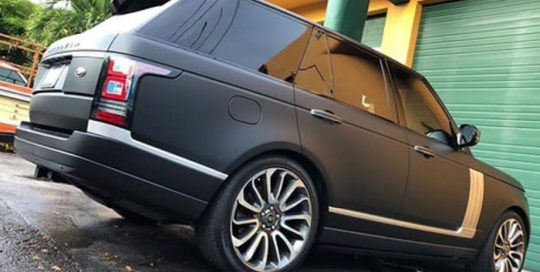 Range Rover wrapped in Matte Deep Black vinyl
