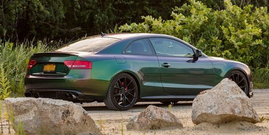 Audi A5 wrapped in Avery ColorFlow Gloss Urban Jungle Silver/Green shade shifting vinyl