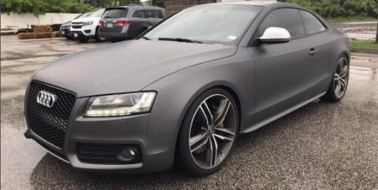 Audi S5 wrapped in Matte Dark Gray vinyl