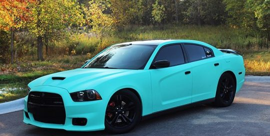 Dodge Charger wrapped in Avery SW Matte Vintage Green vinyl