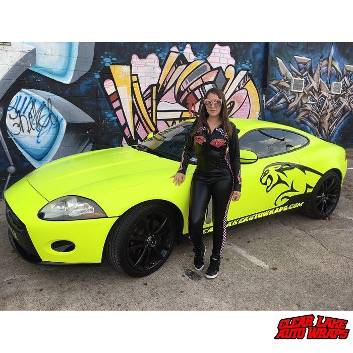 Jaguar XK wrapped in Satin Neon Fluorescent Yellow vinyl