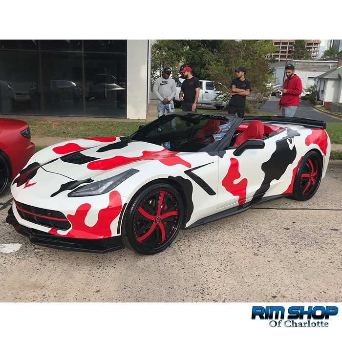 Chevrolet Corvette wrapped in Avery SW Satin Pearl White, Gloss Red, and Gloss Black vinyls