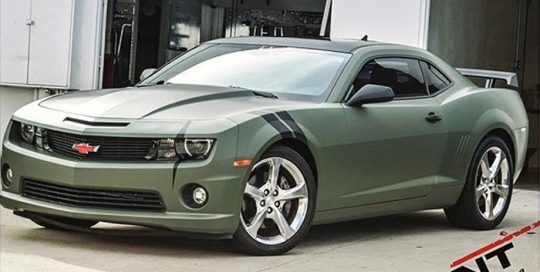 Chevrolet Camaro wrapped in Matte Military Green and Matte Black vinyls