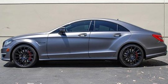 Mercedes Benz CLS63 wrapped in Satin Dark Gray vinyl