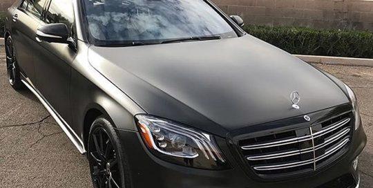 Mercedes Benz wrapped in Mercedes Benz wrapped in Avery SW Satin Black vinyl