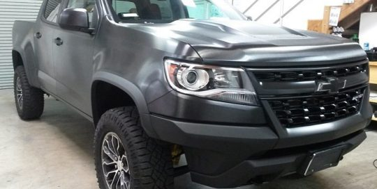 Chevrolet Colorado wrapped in 3M 1080 Brushed Black Metallic vinyl