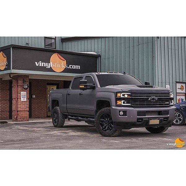 Chevrolet Silverado wrapped in Avery SW Matte Charcoal Metallic vinyl