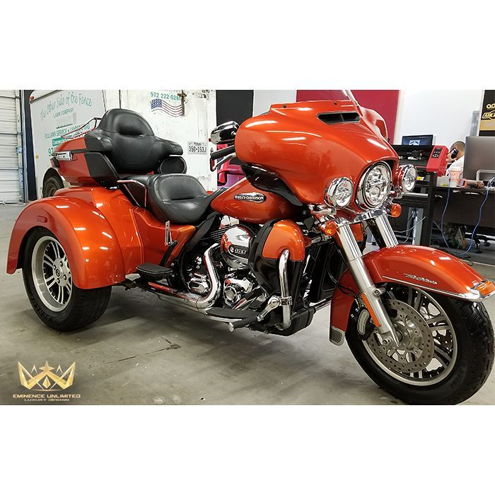 Harley Trike wrapped in Gloss Fiery Orange vinyl