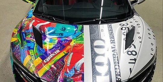 Acura NSX wrapped in custom printed 3M IJ180C and 40C-114R Clear vinyls