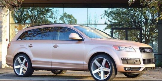 Audi Q7 wrapped in Satin Caramel Luster vinyl