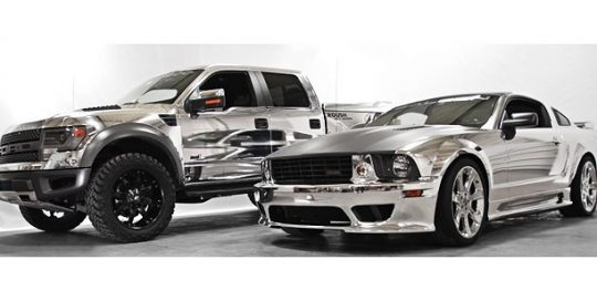Ford Raptor & Mustang-GT wrapped in Avery SW Silver Chrome vinyl.