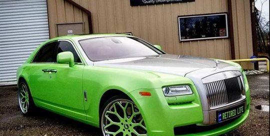 Rollsroyce Ghost wrapped in Avery SW Gloss Light Green Pearl vinyl