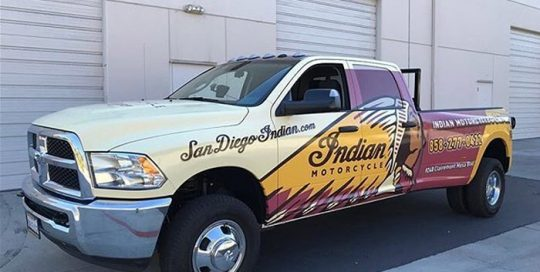 Dodge Dually wrapped in using custom printed 3M IJ180mC vinyl with 8518 Gloss overlaminate