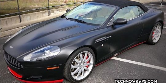 Astonmartin DB9 wrapped in Avery SW Satin Black and Gloss Carmine Red vinyls