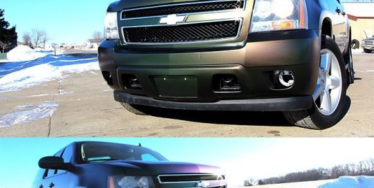 Chevrolet Suburban wrapped in Avery ColorFlow Satin Urban Jungle Silver/Green/Purple shade shifting vinyl