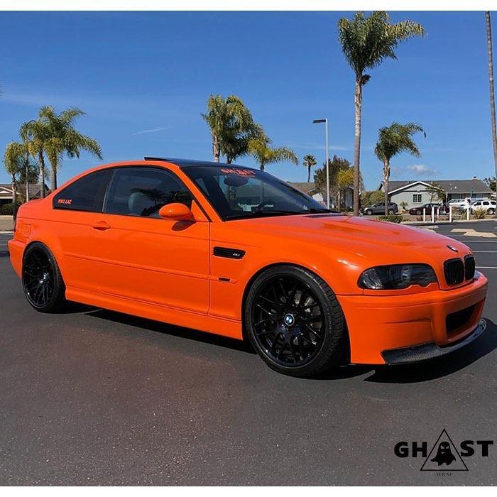 BMW-M3 wrapped in Avery SW Gloss Orange vinyl