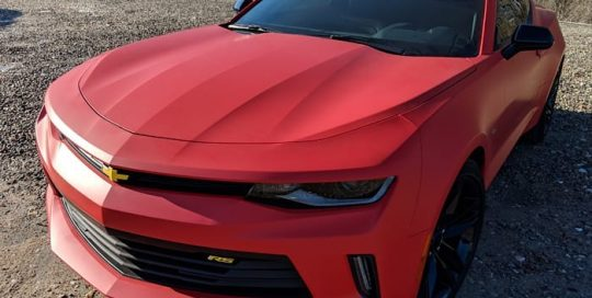 Chevrolet Camaro wrapped in Matte Red vinyl