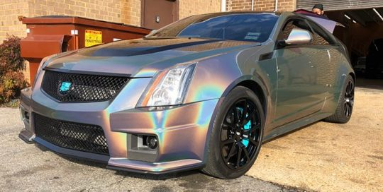 Cadillac CTSV wrapped in ColorFlip Psychedelic shade shifting vinyl