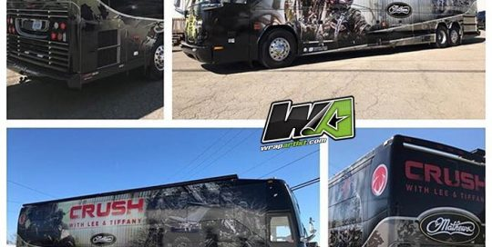 Bus Wrap wrapped in vinyl with 8518 Gloss overlaminate