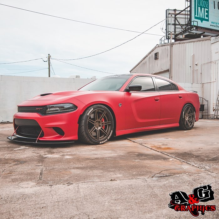 Dodge Charger wrapped in Orafol 970RA Matte Imperial Red Pearl Vinyl