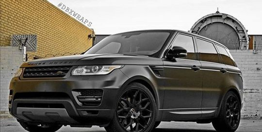 Range Rover wrapped in Avery SW Satin Black vinyl