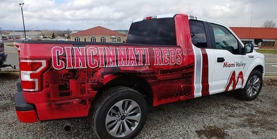 Ford F150 wrapped in custom printed Avery 1105 vinyl with 1360z Gloss overlaminate
