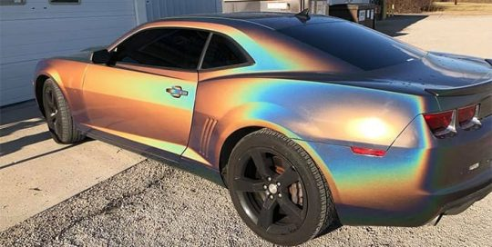 Chevrolet Camaro wrapped in ColorFlip Gloss Psychedelic shade shifting vinyl