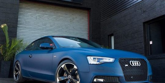 Audi S5 wrapped in Matte Indigo Blue vinyl