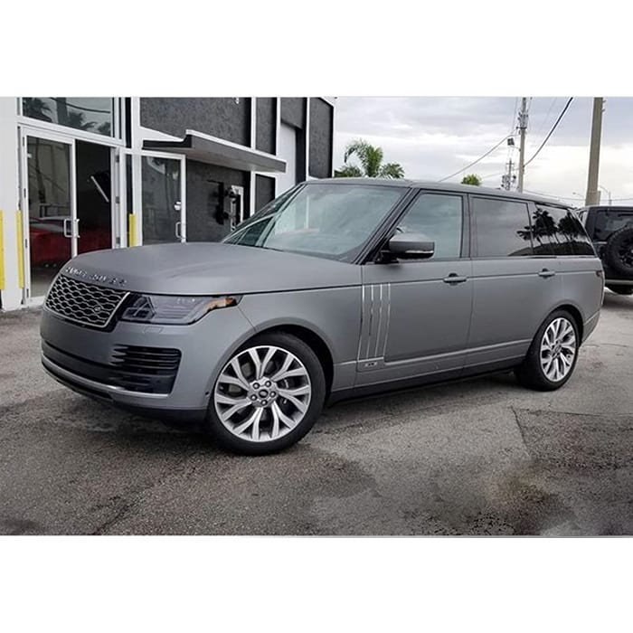 Range Rover wrapped in Avery SW Matte Gunmetal Metallic vinyl