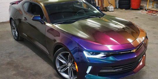 Chevrolet Camaro wrapped in Avery ColorFlow Gloss Lightning Ridge Green/Purple shade shifting vinyl