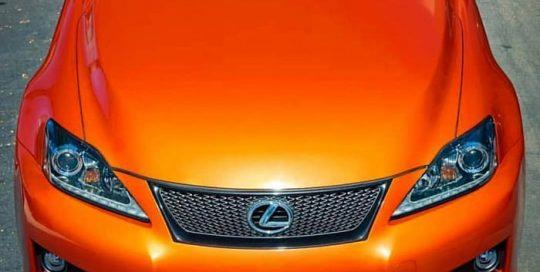 Lexus Isf wrapped in Gloss Fiery Orange vinyl