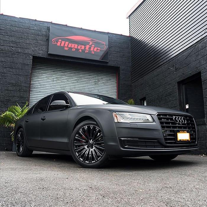 Audi A8 wrapped in Matte Deep Black vinyl