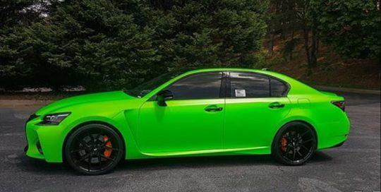 Lexus GSF wrapped in Satin Neon Fluorescent Green vinyl
