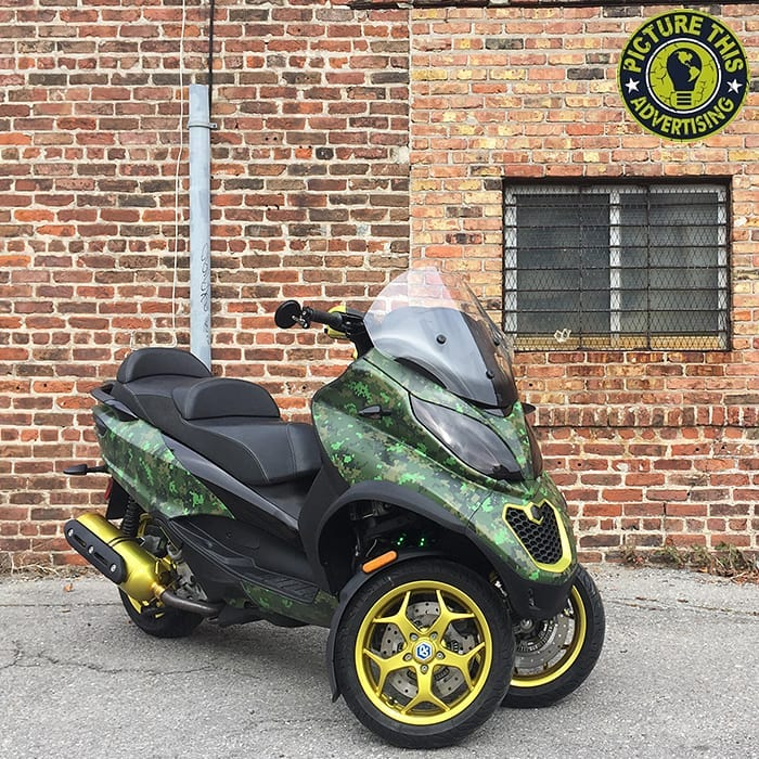 Piaggio MP3 wrapped in custom printed 3M IJ180mC vinyl with