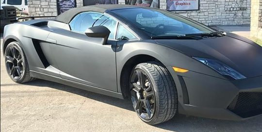 Lamborghini Gallardo wrapped in Matte Black vinyl