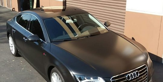Audi A7 wrapped in Avery SW Satin Black vinyl