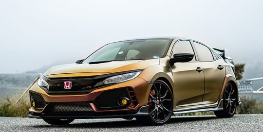 Honda Civic Typer wrapped in very ColorFlow Satin Rising Sun Red/Gold shade shifting vinyl
