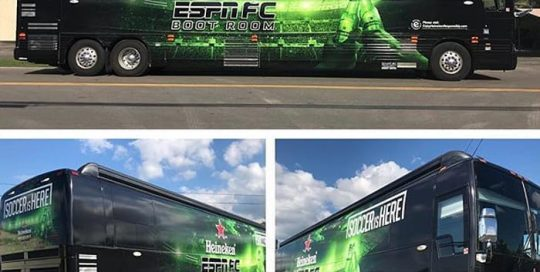 Commercial Bus Wrap wrapped in custom printed 3M IJ3552C vinyl with 8518 Gloss overlaminate