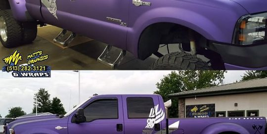 Ford F-350 wrapped in Avery SW Matte Purple Metallic and Silver Chrome vinyls