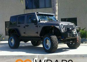 Jeep Wrangler wrapped in Matte Dark Gray vinyl