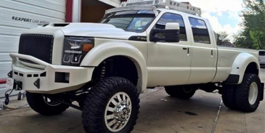 Ford F-350 wrapped in Avery SW Satin Pearl White vinyl