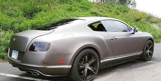 Bentley Continental GT wrapped in Matte Charcoal Metallic vinyl