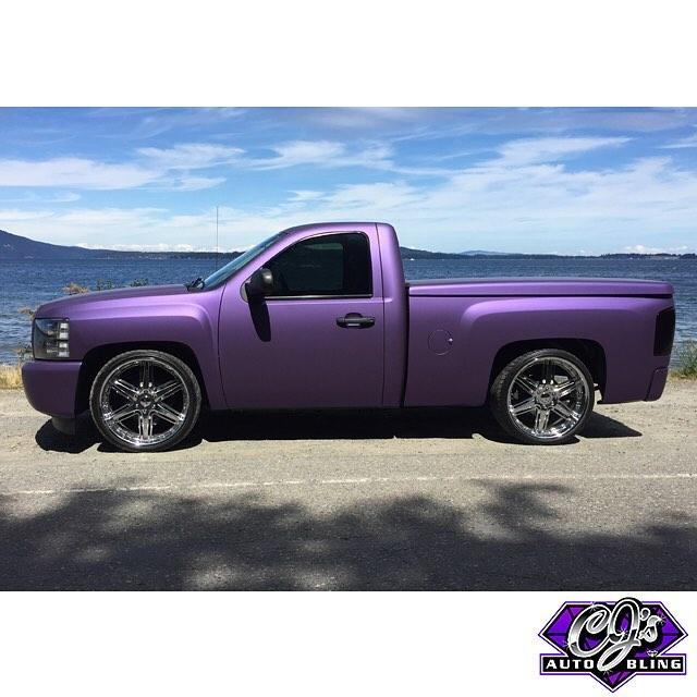 Chevy Silverado wrapped in Avery SW Matte Purple Metallic vinyl