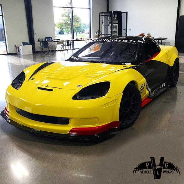 Chevrolet Corvette wrapped in Orafol 970RA Cargo Yellow vinyl and Avery SW Gloss Red/Gloss Black vinyls