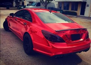 Mercedes Benz CLS-63 wrapped in Avery SW Red Chrome vinyl