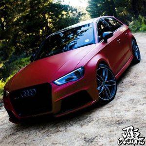 Audi Rs3 Wrapped In Matte Red Metallic Vinyl Vinyl Wrap 3m
