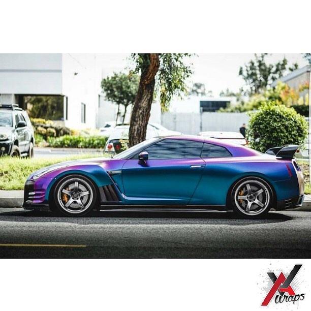 Nissan Iowa City >> Nissan GTR wrapped in Avery ColorFlow Satin Rushing Riptide Cyan/Purple shade shifting vinyl